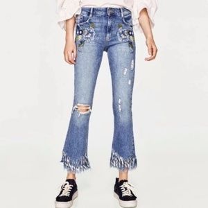 Zara | floral embroidered frayed jeans